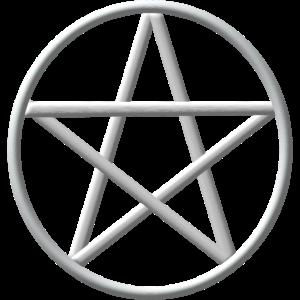 Metallic Silber Pentacle Wicca Symbol