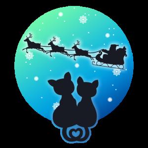 Santa Sleigh Reindeer Süße Katzen Frohe Weihnachten!