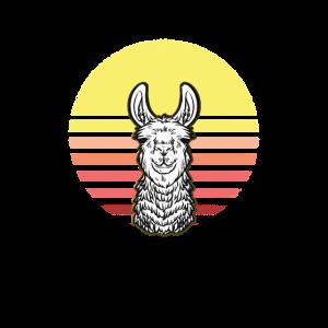 Retro Sonnenuntergang Alpaka Lama Personalisierbar