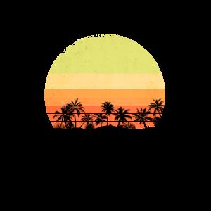 Retro Sonnenuntergang Palmen Personalisierbar