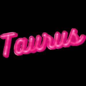 Stier - Astrologie Zeichen mit rosa glänzenden Buchstaben