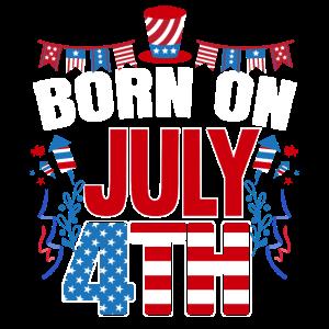Geboren Am 4. Juli USA-Flaggen 4. Juli-Geburtstag