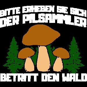 Bitte erheben sie sich der Pilzsammler
