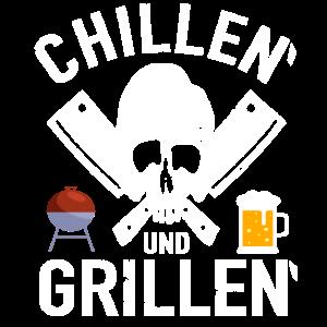 Chillen und Grillen Barbecue Totenkopf BBQ Grillen