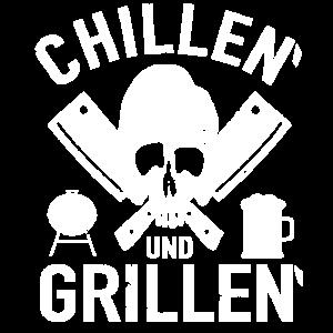 Chillen Grillen Barbecue Totenkopf Bier BBQ Smoker