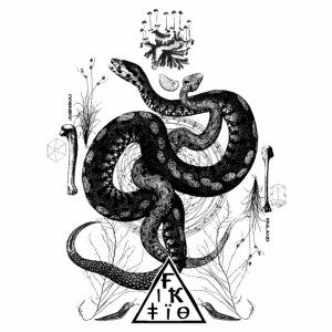 Fiktio käärmeprintti musta