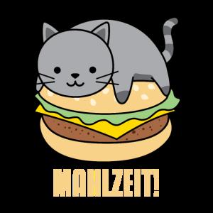 Graue Katze Auf Hamburger Mahlzeit Geschenk