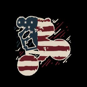 Vintage American Flag BMX Bike Racing Fahrer