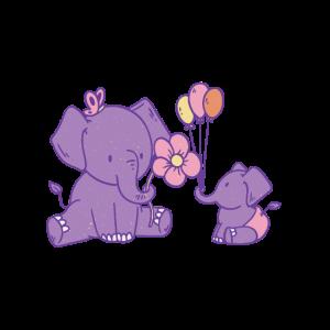 Zwei süße Elefanten mit Ballons und einer Blume