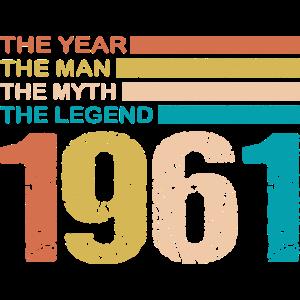 60. Geburtstag 1961 Mann Legende Spruch Retro