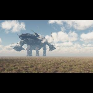 Riesiges Raumschiff in einer Landschaft