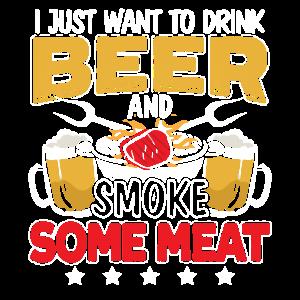 Trinken Sie Bier Und Grillen Sie Fleisch BBQ Grill