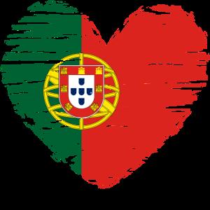 Portugal Herz Flagge Fahne Wappen