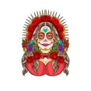 Chicano styled Catrina with flowers.