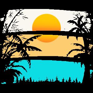 SUNDOWN - PALM TREES, SUN