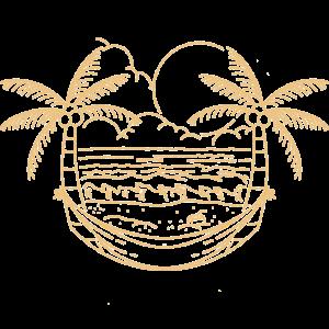 Minimal Retro Design Strand und Palmen