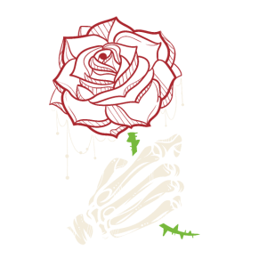 Skeleton Hand Red Rose Flower