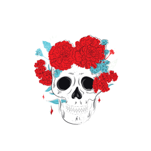 Skull with flowers. For self-confident Latinas
