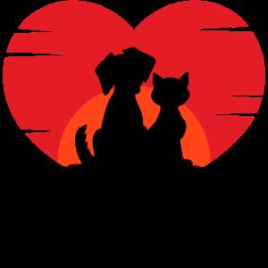 Hund Katze Herz Beste Freunde Statement