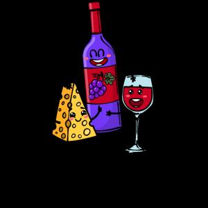 Beste Freunde Käse Wein Statement