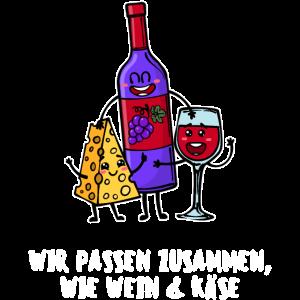 Beste Freunde Statement Käse Wein