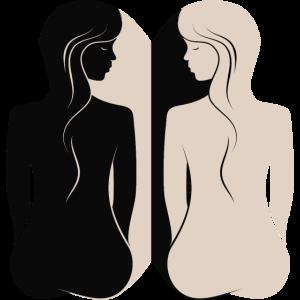Silhouette Zwilling Frau Spiegelung