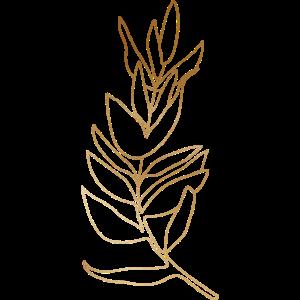 Gold Foliage Botanical Leaves Line Art