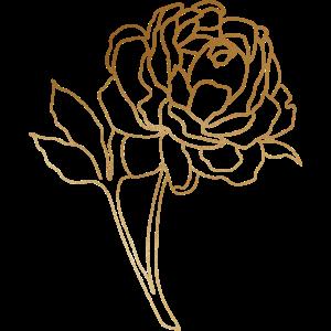 Gold Foliage Rose Line Art