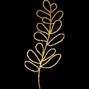 Gold Foliage Flora Line Art