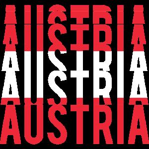 Flagge Österreichs stapelte Text Oesterreich Autriche
