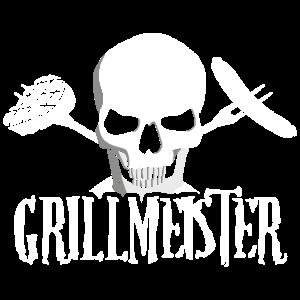 Totenkopf Schädel Grillmeister Grill BBQ Spruch