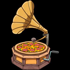 Lustiges Pizza Grammophon Schallplattenspieler