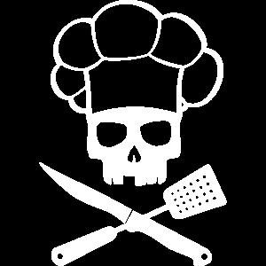 Totenkopf mit Besteck Grillschürze