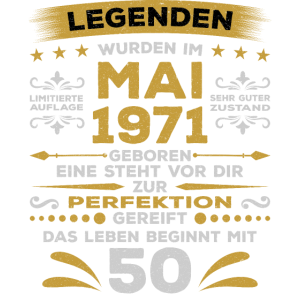 Geburtstag Mai 1971 50 Jahre Legende Perfektion