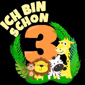 Ich bin schon 3 Jahre alt Dschungeltier Geburtstag