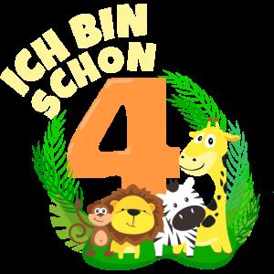 Ich bin schon 4 Jahre alt Dschungeltier Geburtstag