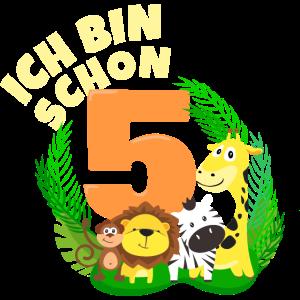 Ich bin schon 5 Jahre alt Dschungeltier Geburtstag