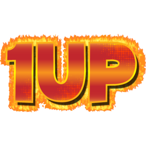 1Up 1up 1UP One Player Gamer Fire