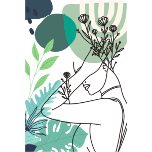 Minimalist Floral Line Art Frau / Abstrakte Kunst