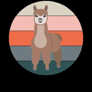 Alpaka Lama Geschenk Kamel Zoo Tiere Retro