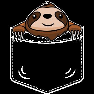Brusttaschen Faultier lustige Tiere T-Shirt