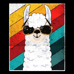 Alpaka Retro Geschenk Cooles Lama mit Sonnenbrille