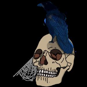 Totenschädel mit Rabe