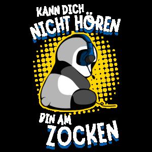 Bin am Zocken Gaming Panda hören Zockender Bär Fun