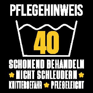 40. Geburtstag Geschenk Pflegehinweis Wäsche