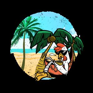 Urlaubs Chiller Urlauber Strand Palmen Hühner cool