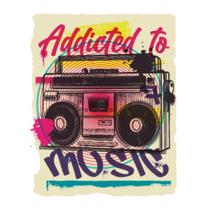 Addicted to music boombox urban graffiti