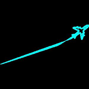 Flugzeug mit Streifen am Himmel