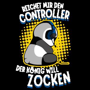 Der König will zocken Gaming Panda Zockender Bär