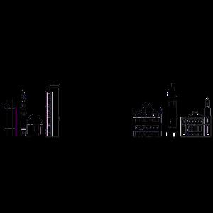 Frankfurter Skyline in Schwarz mit Details